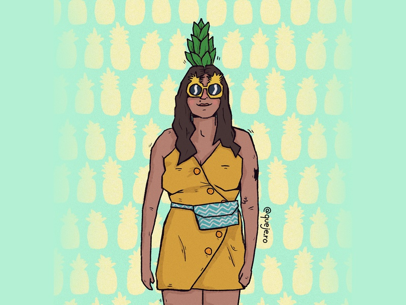 luiza costume design illustration comission drawing cute pineapple girl