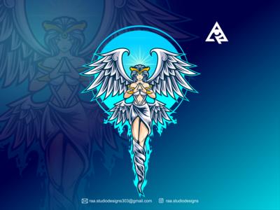 Angel branding design icon esport ilustration designs sportlogo mascot character gaming cartoon vector illustration