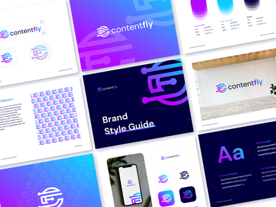 Content Fly - Logo and Brand Style Guide cryptocurrency modern logo style guide platform uiux nft fly content marketplace logo illustration design graphic design logo design brand guideline branding brand identity app brand guidelines crypto