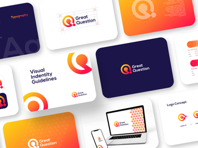 Great Question - Logo and Visual Identity Guidelines business card mobile orange company marketing guidelines visual identity question fresh clean modern logo illustration graphic design logo design brand guideline branding brand identity brand guidelines app
