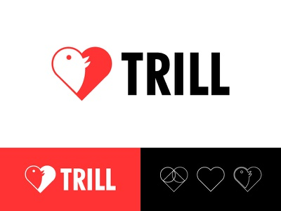 Trill Branding mark bird heart dating identity logo illustration branding design