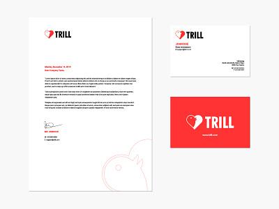 Trill Stationery Design mark dating heart bird logo identity branding design stationery