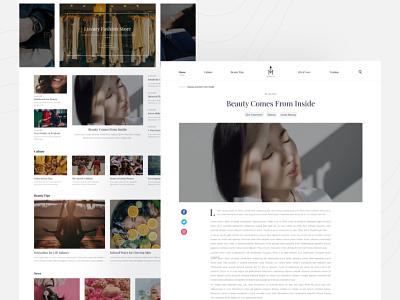 Article UI Design fashion branding article design web ui
