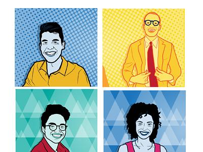 MBA portraits web flat design branding illustration