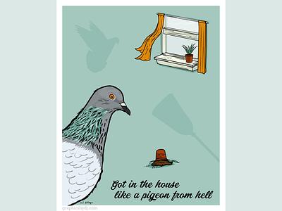 Pigeon from Hell editorial illustration vector illustration