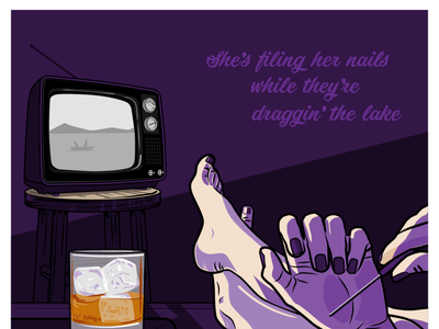 She's Filing Her Nails While They're Draggin' the Lake editorial illustration vector illustration
