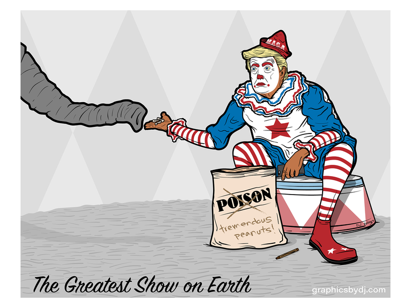 Trumpy the Clown editorial vector illustration