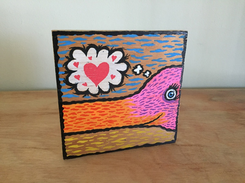 love bird folk art fineart wood painting illustration