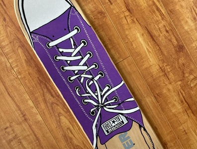 Converse Skate Deck ink shoe skateboard painting illustration