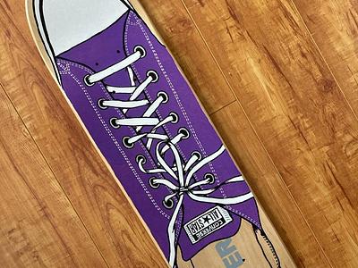 Converse Skate Deck ink shoe skateboard painting illustration