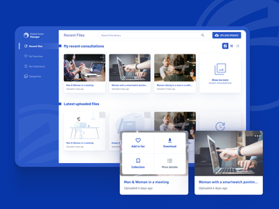 Digital Asset Manager - Foyer Group application design application ui upload image collection manager electric blue blue and white cms imagery image library app library digital asset management assetstore flat application interface asset management asset
