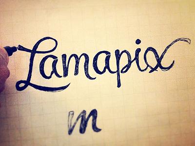 Lamapix Logotype Draft lettering logo lettering handlettering letter cursive logotype font hand drawn handmade typography logo draft hand draw