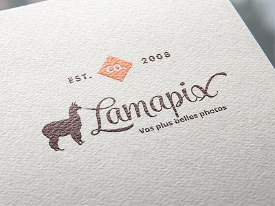 Vintage Lamapix logo in paper handlettering lettering cursive font hand drawn handmade logotype logo vintage lama paper typography