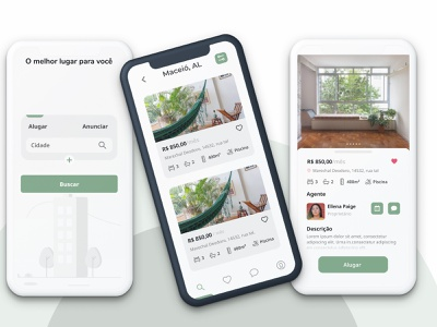 Rent app price clean colors green house search ui rent