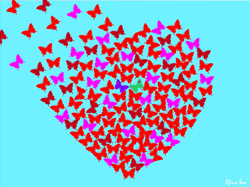 Butterfly Heart Fading Away butterfly couple support system love graphic artist visual design visual art graphic art digital art computer graphics turquoise butterfly purple butterfly heart fading butterfly fade butterfly heart butterflies butterfly