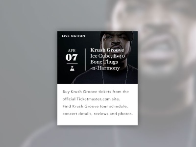 Krush Groove live nation ohjamesy james hsu ui ux interface design interactive design