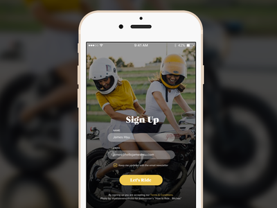 Daily UI 001 girl motorcycle motorcycles ux design mobile mobile app design sign up ui design dailyui001 ohjamesy james hsu dailyui