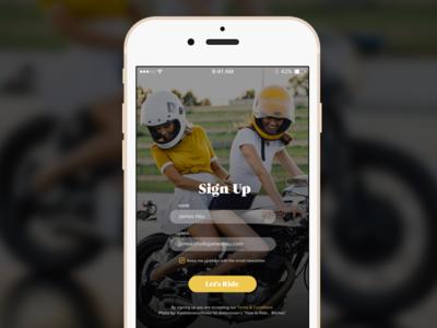 Daily UI 001 girl motorcycle motorcycles ux design mobile mobile app design sign up ui design dailyui001 ohjamesy james hsu dailyui