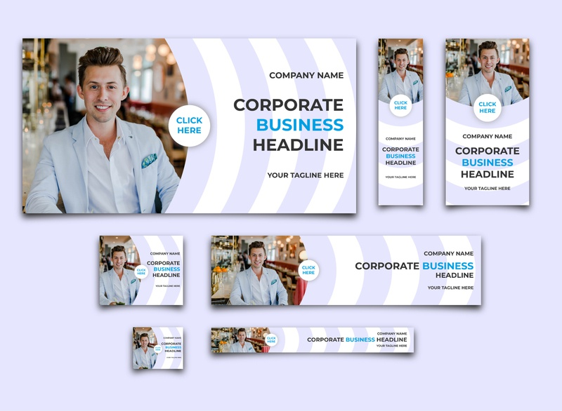 Web Banner Ads Design - 7 Size & Fully Editable Ai restaurant corporate realstate fashion company business web design branding banner design banner ads banner advertising