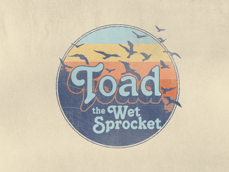 Toad the Wet Sprocket Logo distressed weathered birds 80s vintage badge music band brand identity branding logo