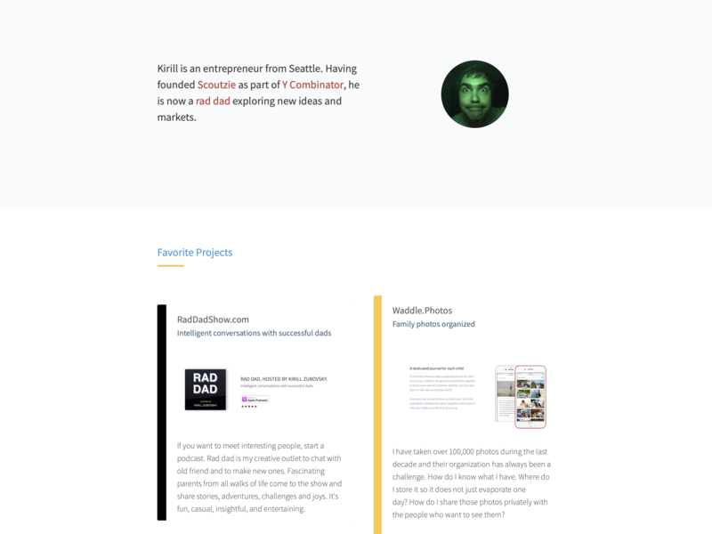 New Personal Website by Kirill Zubovsky on Dribbble