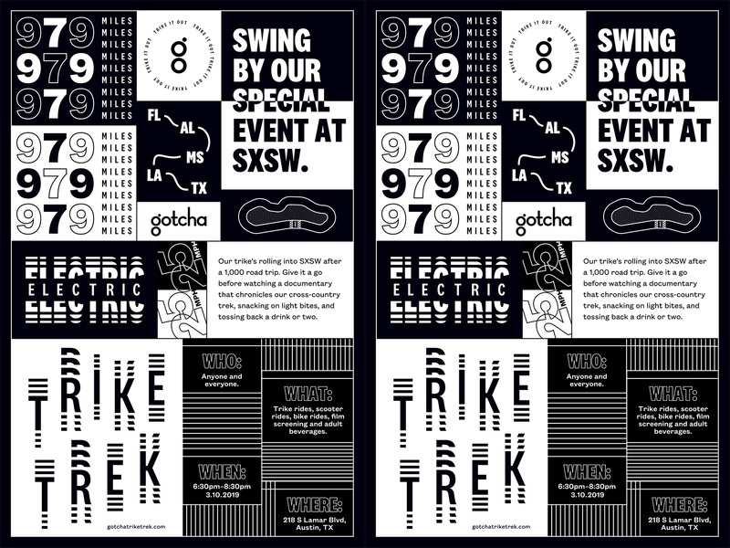 Trike Trek Poster branding layout design grid layout type mobility typography design