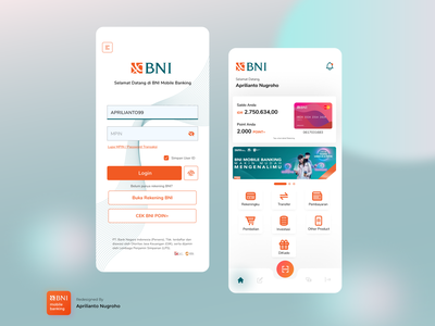 BNI Mobile Banking App Re-Design mobile app mobile banking app uxdesign uidesign income expenses financial app figma illustration banking dribbble app ux ui design