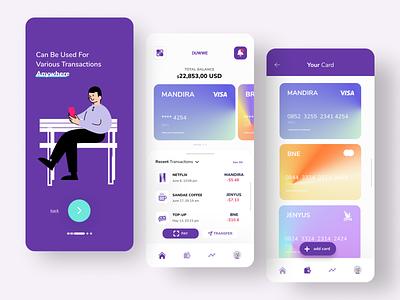 DUWWE (E-Wallet Concept App) uiux finance purple mobile banking app finance app uxdesign uidesign management apple banking illustration 2021 trend financial app mobile app ux ui figma dribbble design app