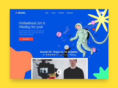 JADOOEL - Landing Page Web landing page design landing page web ui website web design art 90 blue minimal clean illustration 2021 trend uidesign ui ux figma dribbble design