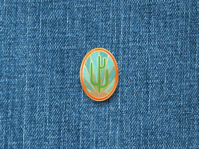 Big Tall Cactus national park cowboy retro vintage denim charm enael western logo pin cactus