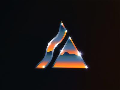 △ typography a gradients sunset neon 80s eighties chrome
