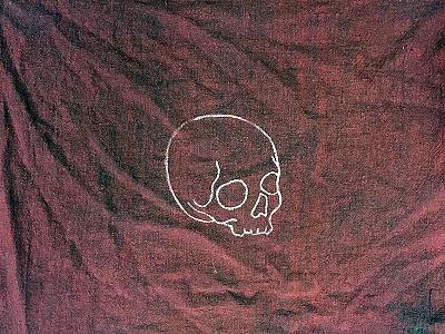Skull Rag texture sketch drawing print icon logo banner old timey vintage flag rag skull