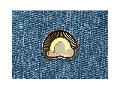 Cowboy Sunrise Pin retro jean jacket vintage cowboy hat icon sunrise logo cowboy enamel pin pin