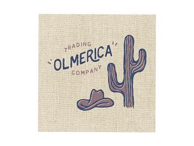 Olmerica Trading Company brand logo trading cactus vintage texture primitive cowboy west merica america old