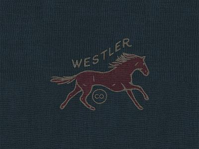 Westler Co old timey texture brand west primitive vintage print logo horse