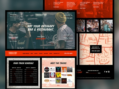 Food Truck Concept texture typography beer food truck one pager web design