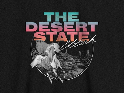 Utah T-shirt texture vintage america gradient screenprint print logo graphic tee state horse desert flourescent neon 80s t-shirt shirt utah