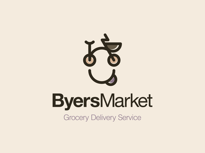 Byers Market happy brand brand identity food grocery service texas market delivery bicycle illustration logolearn illustrator logomaker logoinspiration logo design vector logo logodesign branding