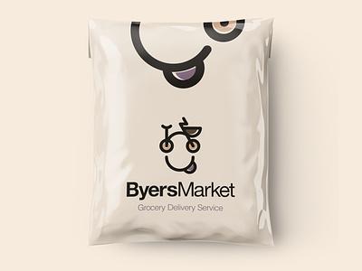Byers Market bicycle brand brand identity texas service grocery market food delivery packaging logolounge logolove logomaker logoinspiration illustrator vector logo design design logodesign branding