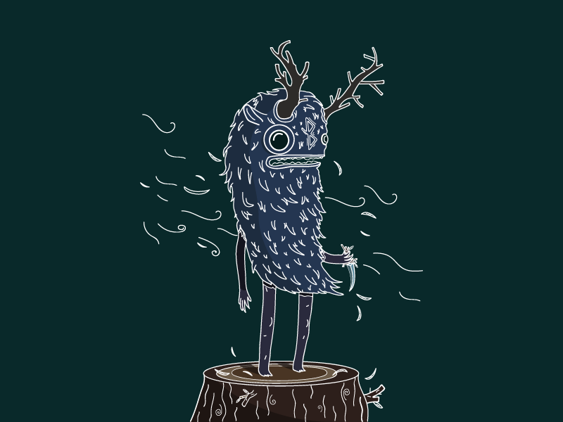 Cordy the Healing Sprite forest wind horns wood sprite leaf character illustration