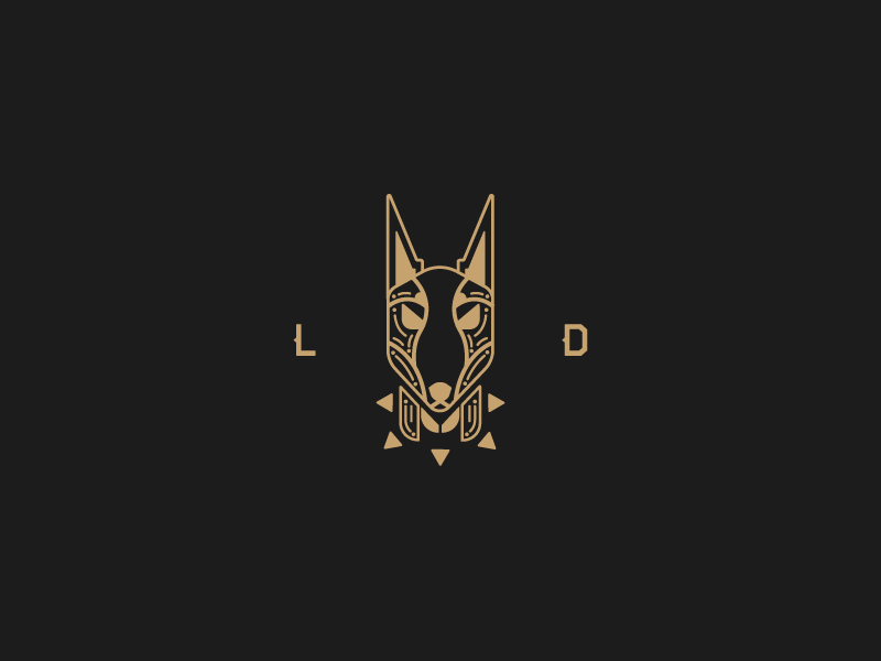 Doberman spike abstract doberman triangle fixed rough lines brand clothing dog logo