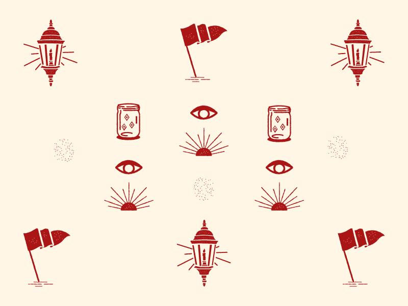 Icons grain distressed beam jar lantern direction illustration icon flag eye sun