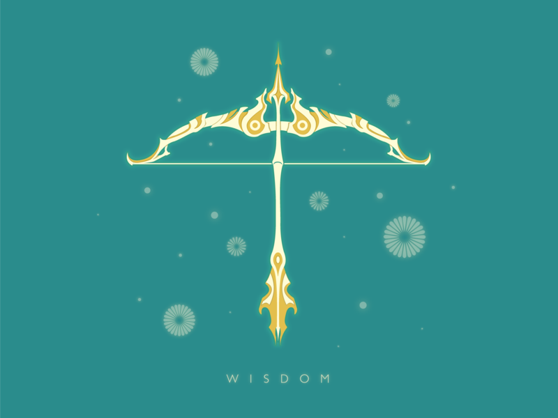 Wisdom vector triforce arrow bow zelda icon flat illustration