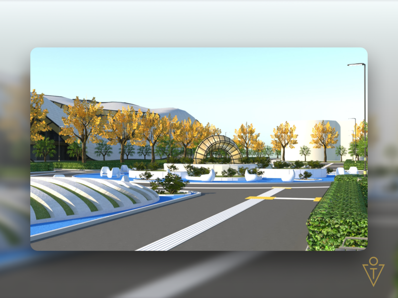 """Shopping and entertainment center """"WAVE"""" (3D) 3 park landscape exterior 3dsmax 3d modeling render architecture house 3d design art"""