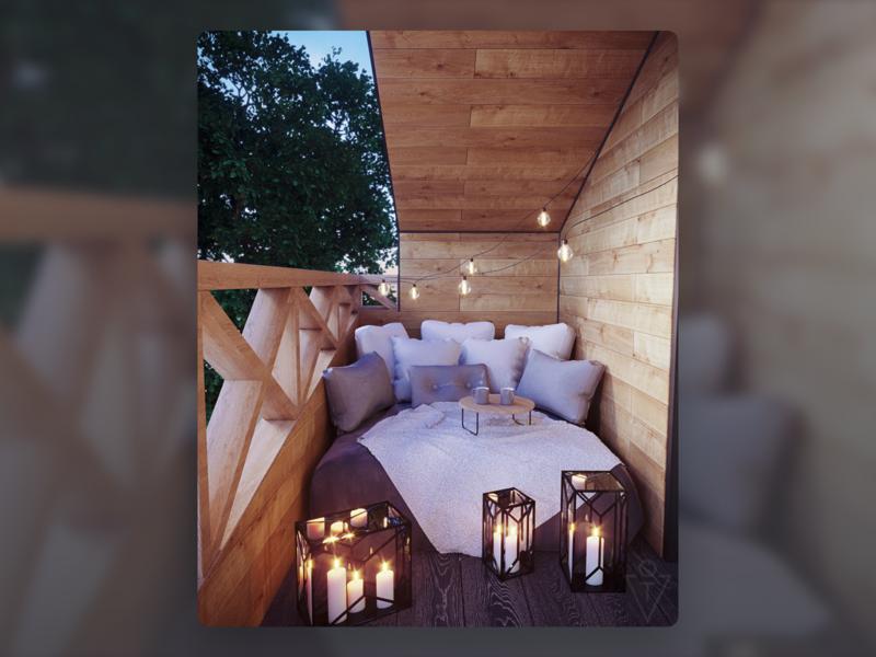 Terrace interior design (3D) wood lights interior design interior house 3dsmax 3d modeling render architecture 3d art design