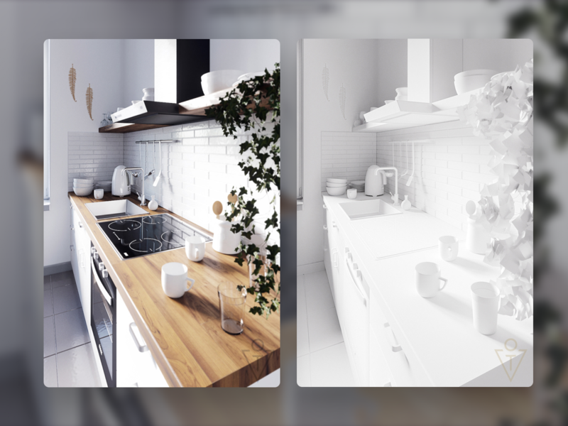 Kitchen interior design (3D) cup plate glass kitchen interior 3dsmax 3d modeling render house architecture 3d design art