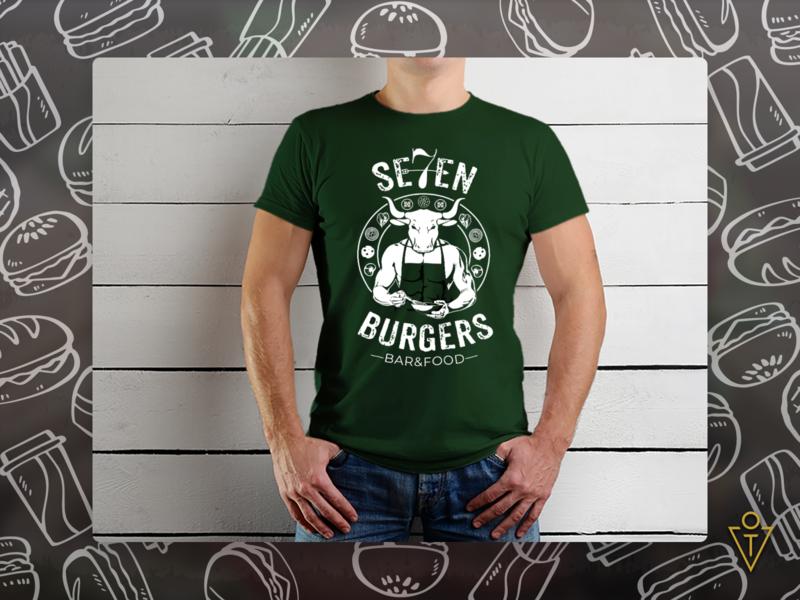 Men's T-shirt for 7 Burgers bull t-shirt illustration graphicdesign behance brandidentity branding digitalart creative illustrator dribbble brand design art