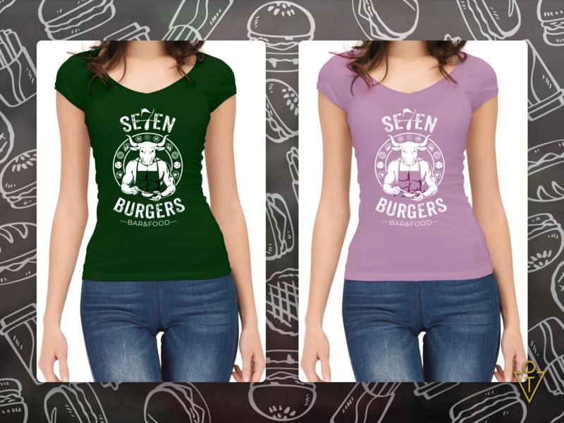 Women`s T-shirt for 7 Burgers brandidentity photoshop adobe creative designer illustrations designinspirations behance graphicdesign branding illustration design art