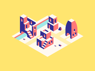 The Lonely Village designs illustrations illustration isometric illustration isometric artwork art ento design entodesign design ento