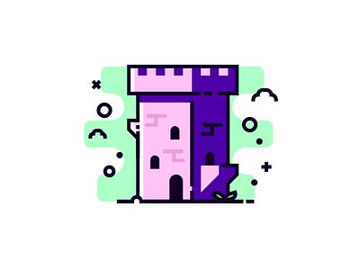 Pink Castle artwork illustration art vector simple design ento